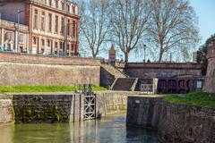 Old gates to Canal du Midi , Toulouse, France Stock Photos