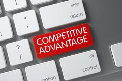 Red Competitive Advantage Keypad on Keyboard. 3D Illustration Stock Illustration