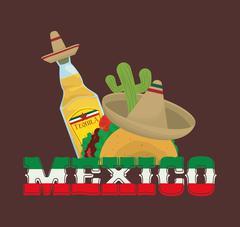 Mexico culture and landmark design Stock Illustration