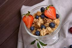 Breakfast with muesli and berries. Healthy eating Stock Photos