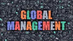 Multicolor Global Management on Dark Brickwall. Doodle Style Stock Illustration