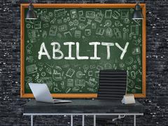 Ability on Chalkboard in the Office. 3D Rendering Stock Illustration