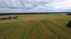 Aerial shot of the wide big agricultural field Stock Footage