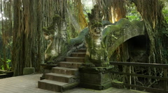 Dragon Bridge at Monkey Forest Sanctuary in Ubud, Bali, Indonesia - Camera Tilt Stock Footage