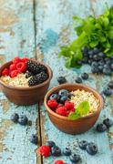 Dietary breakfast homemade oatmeal with berries Stock Photos