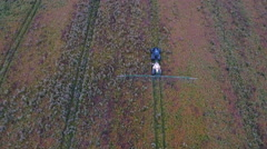 Aerial landscape view of the wide agricultural field Stock Footage