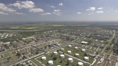 Aerial view of oil refinery - gas refinery Stock Footage