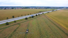 Landscape aerial view of the wide agri field Stock Footage