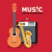 Musical instrument and sound design Stock Illustration