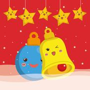 Bell sphere and star cartoon of Chistmas design Stock Illustration