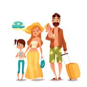 Family with two children and luggage arrived Vacation Stock Illustration