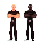 Male African and European security stand Stock Illustration