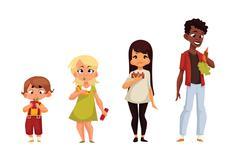 Other children eat different food Stock Illustration
