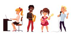 Other children play musical instruments and sing Stock Illustration
