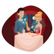 Date loving couple and mobile phone Stock Illustration