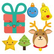Reindeer and cartoons of Chistmas design Piirros