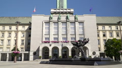 Municipality  town council building in Ostrava, CZ Stock Footage