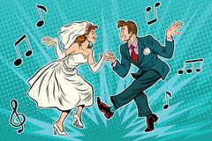 Dancing bride and groom Stock Illustration