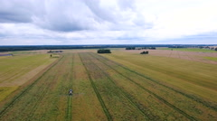 Wide view taken in an aerial shot of the agri field Stock Footage