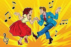 Couple man and woman dancing, vintage dance Stock Illustration