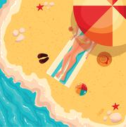 Holiday girl on a sunny sea shore, view from above Stock Illustration