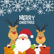 Santa and reindeer cartoon of Chistmas design Stock Illustration