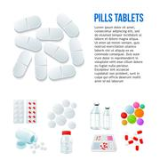 Variety of drugs and pills, wide range Stock Illustration