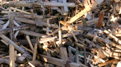 Hill of Crosses  Kryiu Kalnas about september 2016 Stock Footage