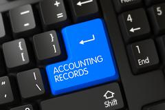 Keyboard with Blue Button - Accounting Records. 3D Rendering Stock Illustration