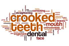 Crooked teeth word cloud Stock Illustration