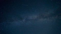 Beautiful starry sky with milky way on the background meteor shower. Time laps  Stock Footage