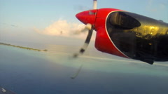 Small seaplane takeoff in the Maldives Stock Footage