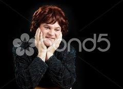 Celebrity Female Impersonator - Black background Stock Photos