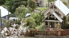 Russian village with carved wooden houses Stock Footage
