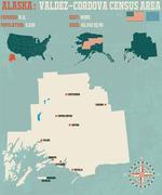 Valdez–Cordova Census Area in Alaska Stock Illustration
