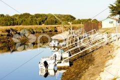 Fishing net, Oleron Island, Poitou-Charentes, France Stock Photos