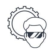 Constructer man and gear design Stock Illustration