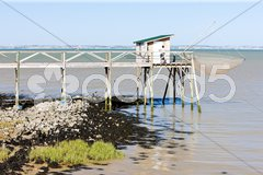 Pier with fishing net, Gironde Department, Aquitaine, France Stock Photos