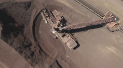 Aerial view of bucket wheel excavator in a power plant Stock Footage