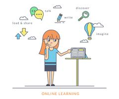 Young redhair girl using a tablet pc and reading ebook on the screen Stock Illustration