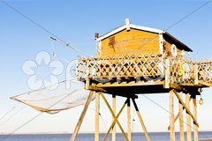 Fishing house with a fishing net, Gironde Department, Aquitaine, France Stock Photos