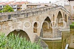 Romanesque bridge over river Arga, Puente La Reina, Road to Santiago de Composte Stock Photos