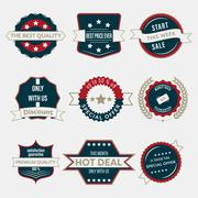 Set of business labels and ribbons in vintage style. Vector branding in retro Stock Illustration
