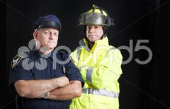 Fireman and Policeman with Copyspace Stock Photos