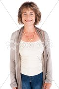 Portrait of smiling senior woman, facing camera Stock Photos