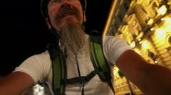 Night ride at city - man riding bicycle Stock Footage
