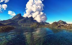Volcanic eruption on island 3d rendering Stock Illustration
