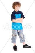 Kid posing with arms crossed Stock Photos