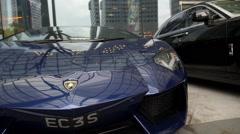 Lamborghini Car in City Street Stock Footage