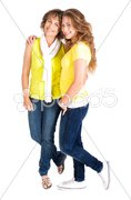 Young pretty daughter embracing her mum Stock Photos